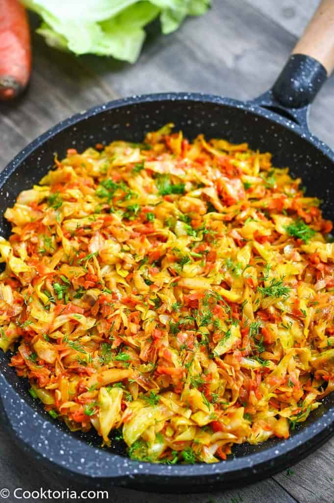 Sautted Cabbage in the skillet