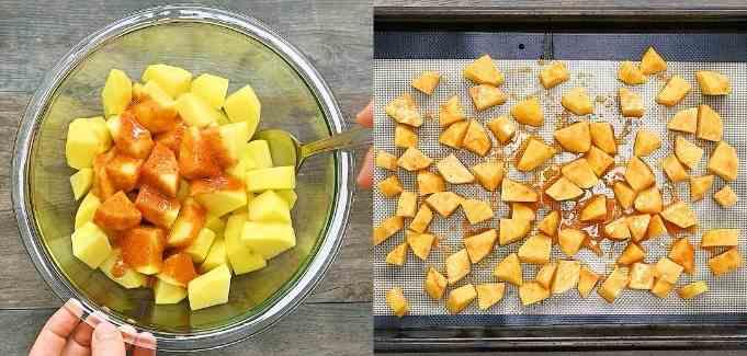 preparing the potatoes