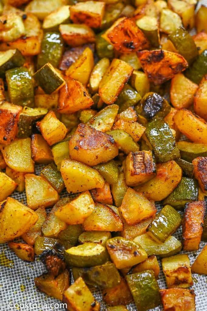 Potatoes and Zucchini on a tray