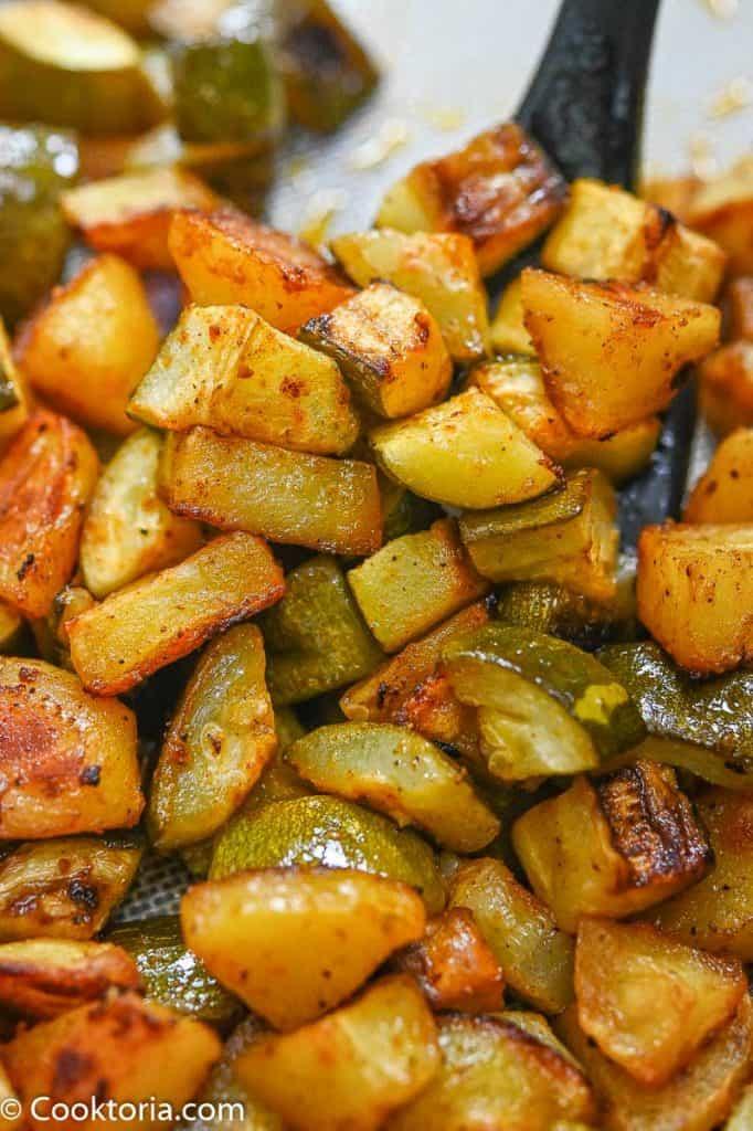 Potatoes and Zucchini close up shot