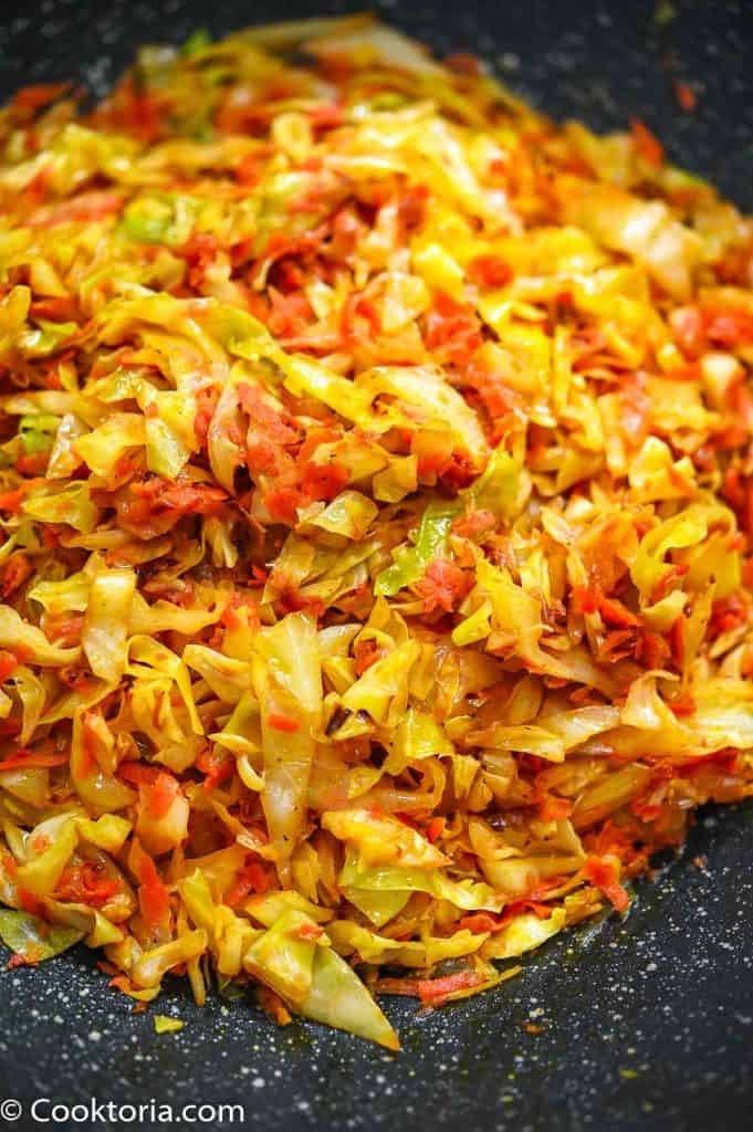 close up shot of sauteed cabbage