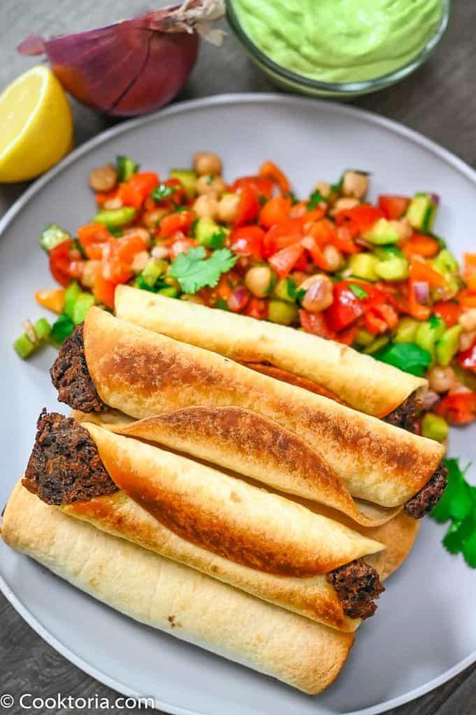 Black Bean Taquitos on a grey plate