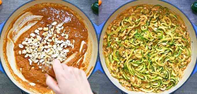 adding zoodles to the sauce