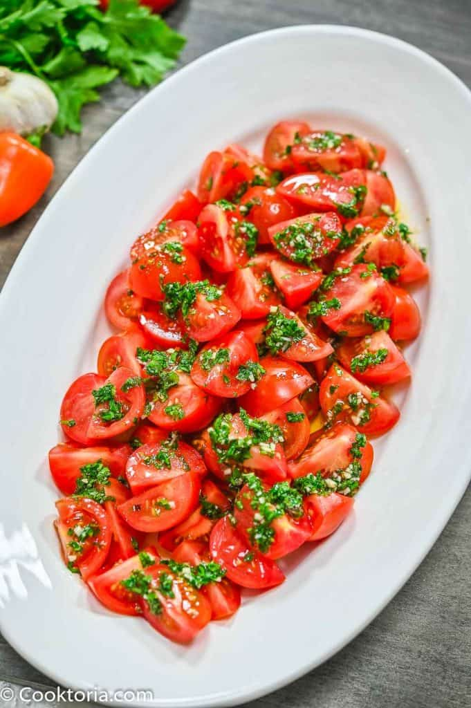 Marinated Tomato Salad on a white plate
