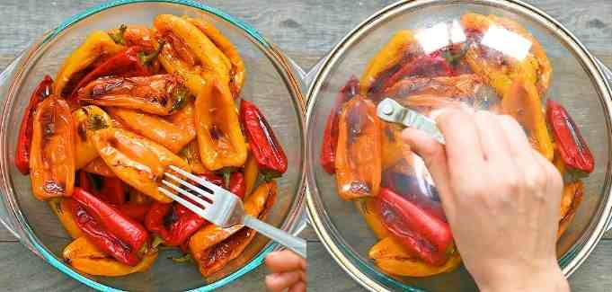 allowing the baked peppers to rest