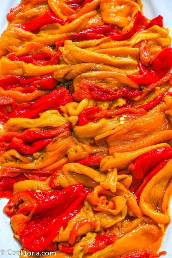 Roasted Mini Peppers on a platter