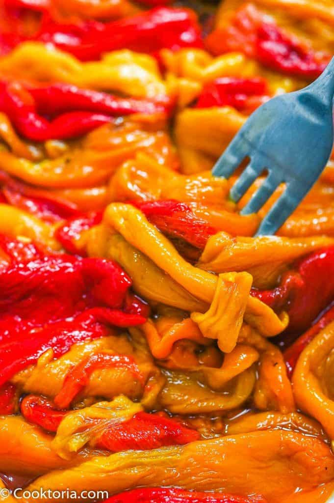Roasted Mini Peppers on a fork