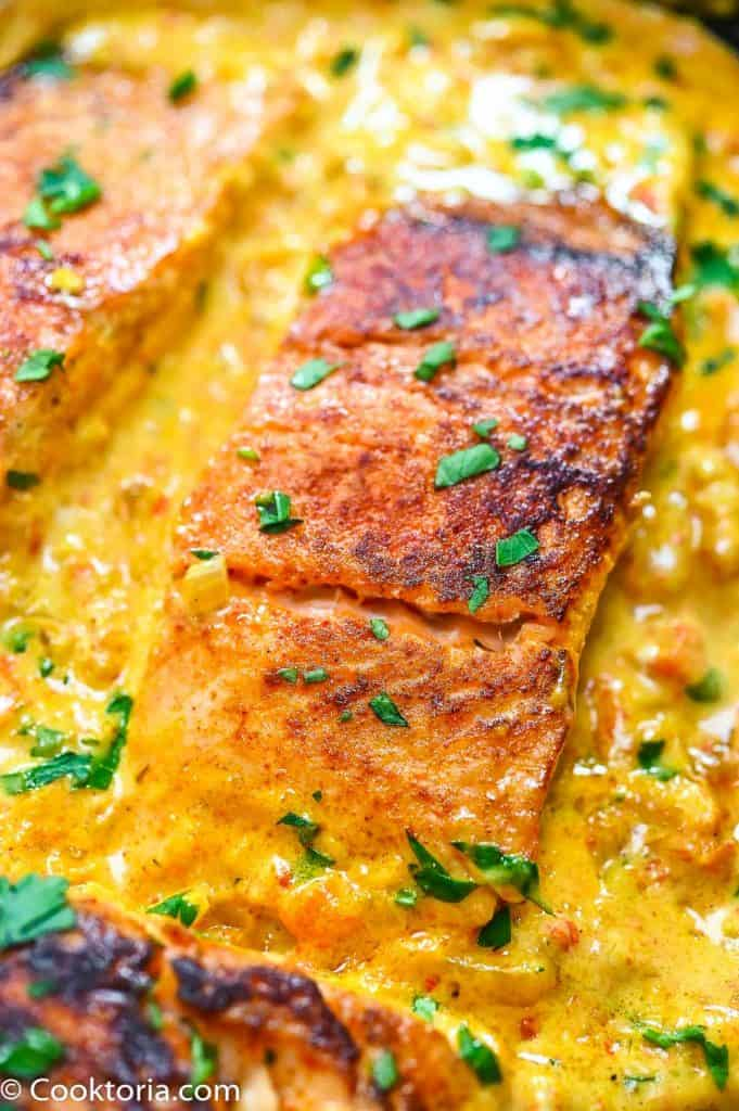 Salmon in Creamy Sauce close up shot