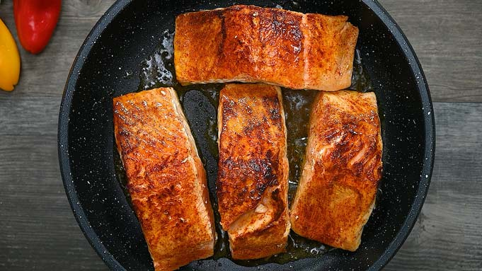 frying the salmon