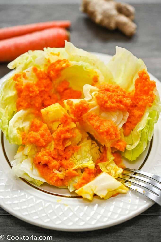 Ginger Carrot Dressing over iceberg lettuce