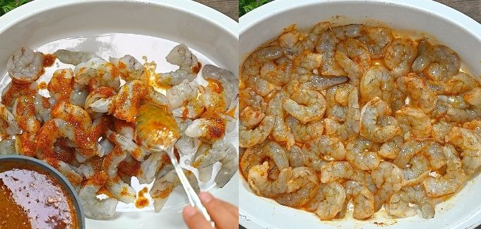 adding spiced butter to the shrimp
