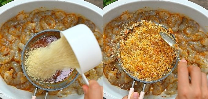 mixing spiced butter with breadcrumbs