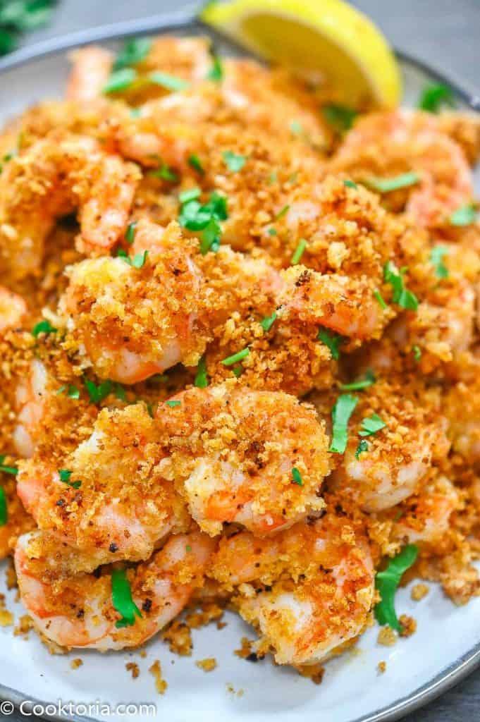Crunchy Baked Shrimp close up shot