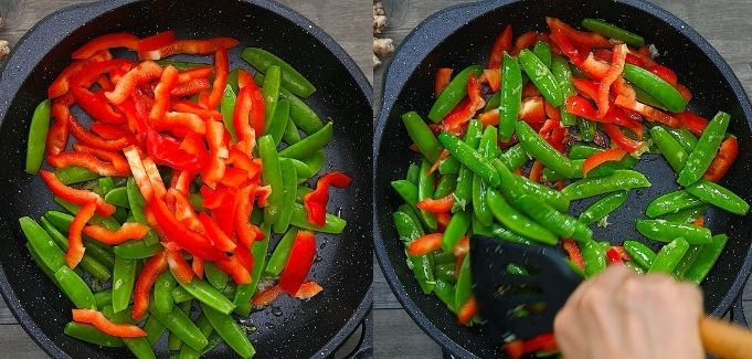 adding snap peas and peppers