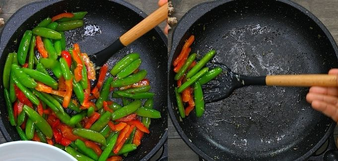removing the veggies from the skillet