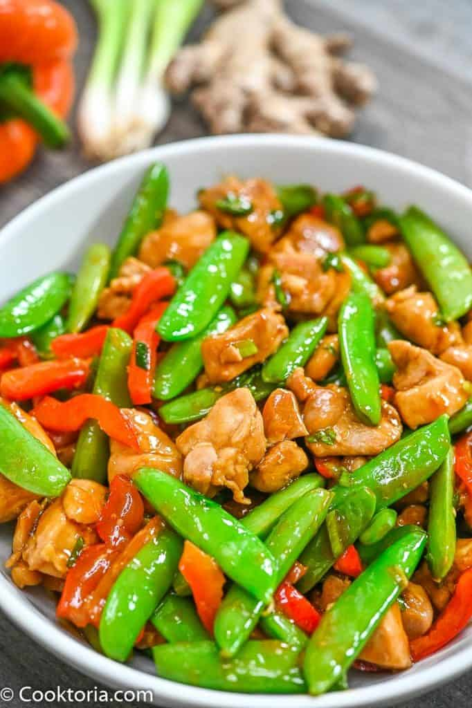 Chicken Snap Pea Stir-Fry in a bowl