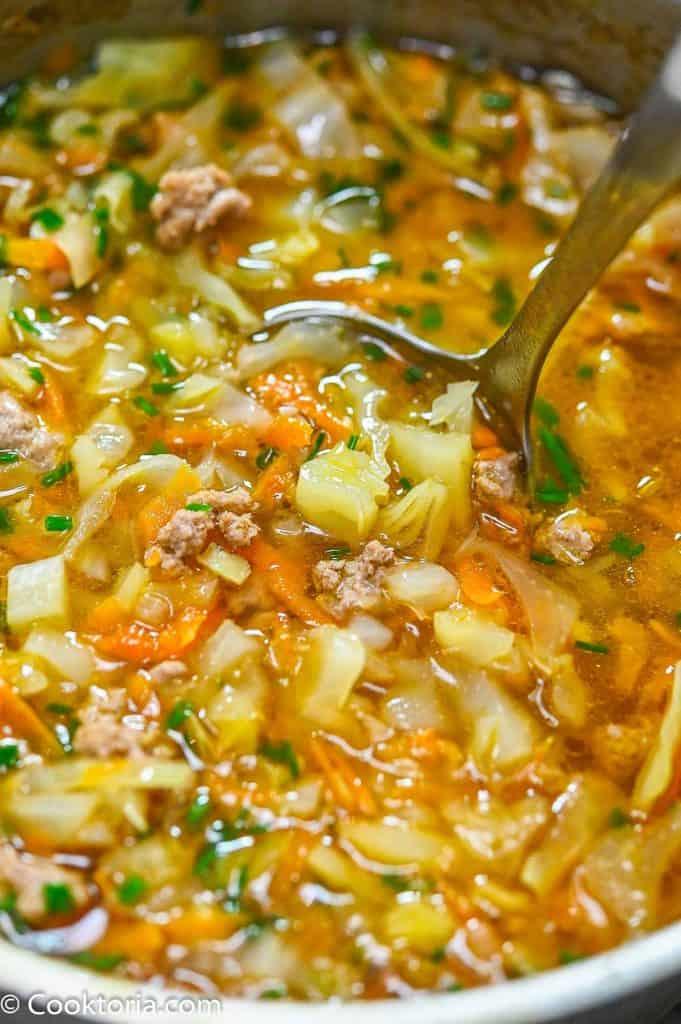 Turkey Cabbage Soup on a ladle
