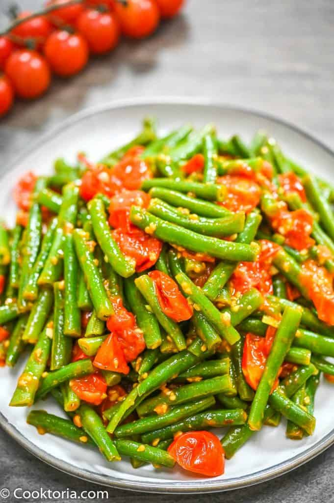 Green Beans in Tomato Sauce on a plate