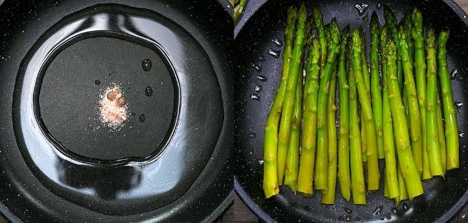 adding water and asparagus to the skillet