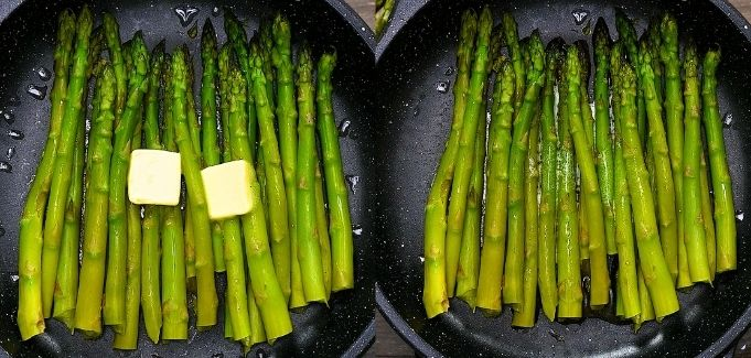 adding butter to the cooked asparagus