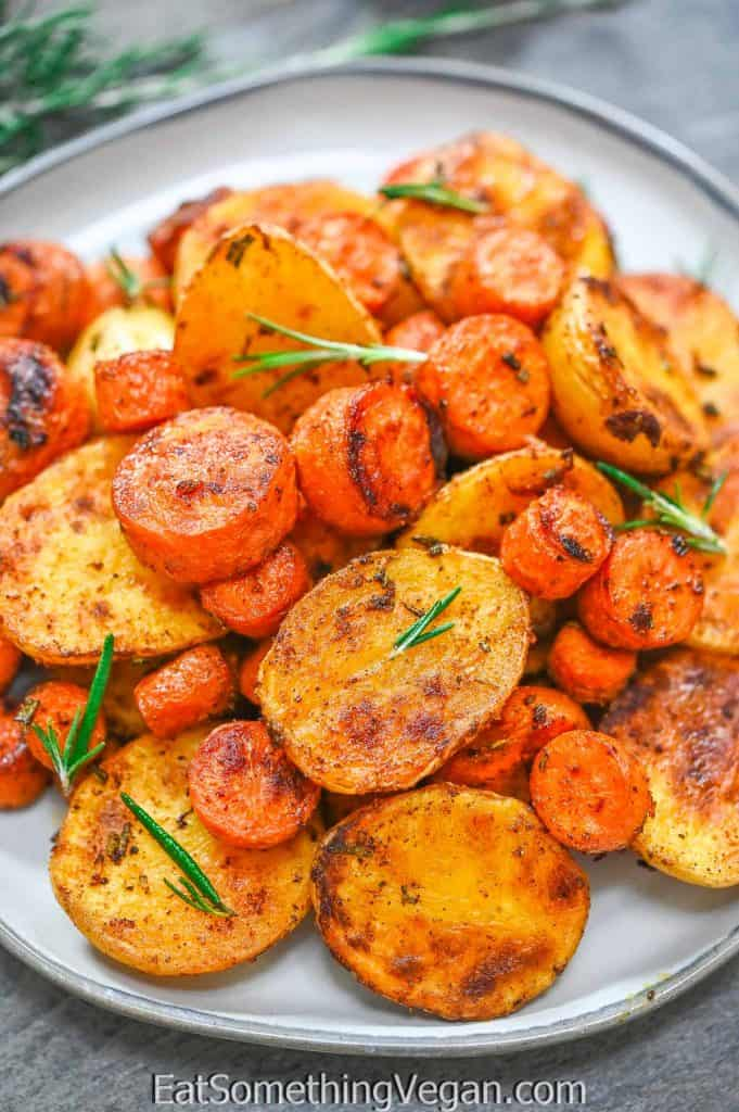 Roasted Potatoes and Carrots on a plate