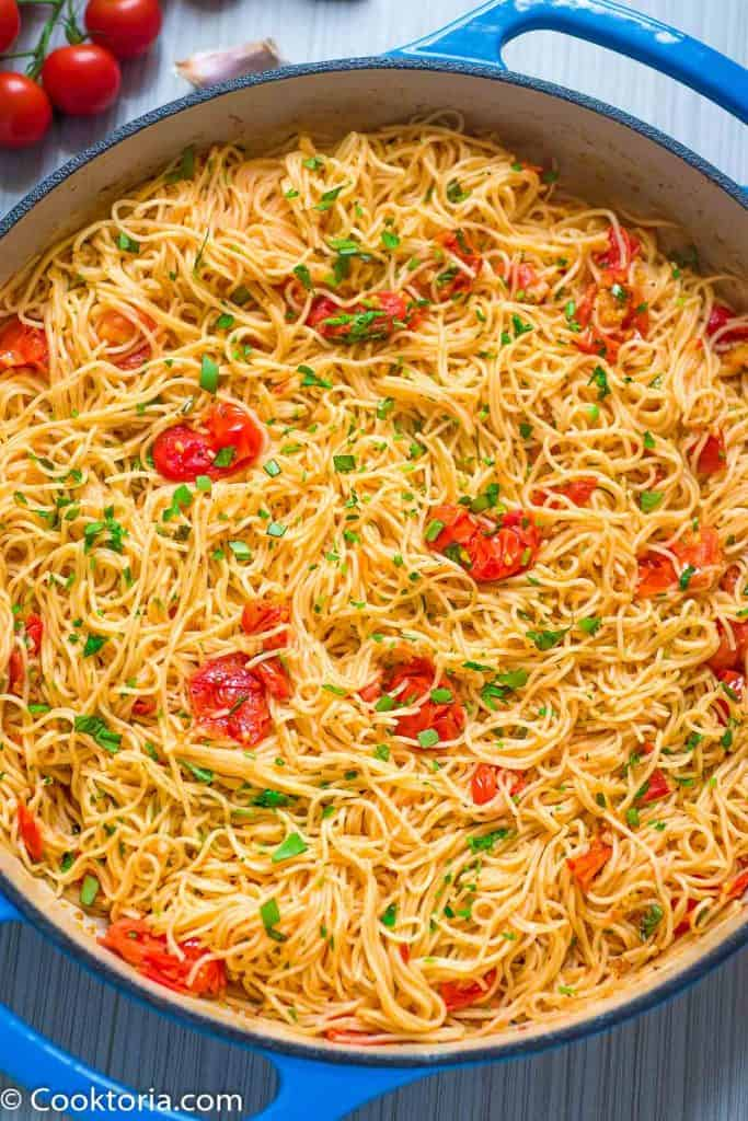 Angel Hair Pasta with tomato sauce in a skillet