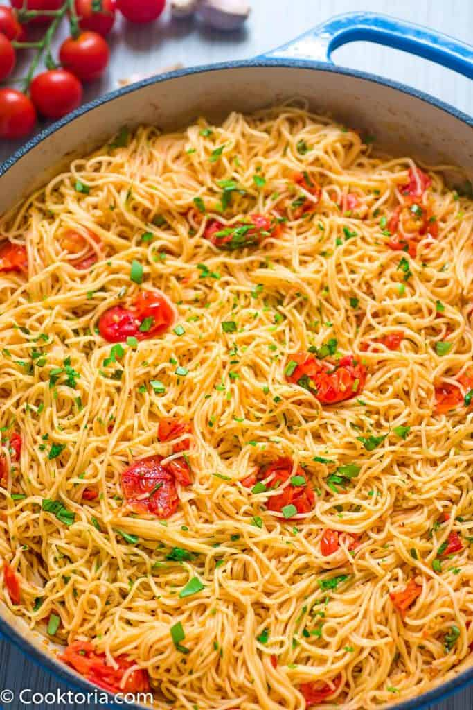 Angel Hair Pasta in a skillet