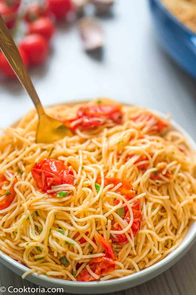 Angel Hair Pasta in a Bowl